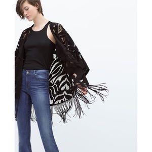 Zara | Openworked Fringed Kimono Cardigan